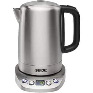 Fierbator apa PRINCESS Deluxe 123600201001, 1.7l, 2200W, argintiu-negru