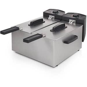 Friteuza cu 2 compartimente PRINCESS 118312301001, 6l, 3600W, 190 grade, argintiu-negru