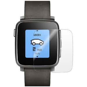 Folie protectie pentru Pebble Time Steel, SMART PROTECTION, display, 2 folii incluse, polimer, transparent