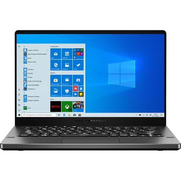 "Laptop Gaming ASUS ROG Zephyrus G14 GA401IV-HA040T, AMD Ryzen 9-4900HS pana la 4.4GHz,14"" QHD, 16GB, SSD 1TB, NVIDIA GeForce RTX 2060 Max-Q 6GB, Windows 10 Home, gri inchis"