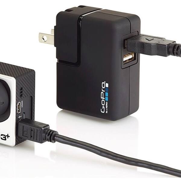 Incarcator priza GO PRO, 2 x USB, 1 A, negru