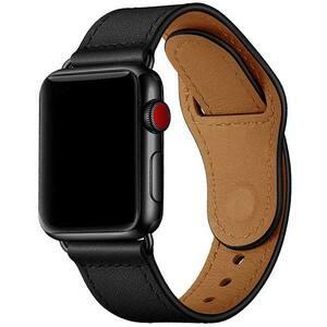 Bratara pentru Apple Watch 42mm/44mm, PROMATE Genio-42, piele naturala, negru