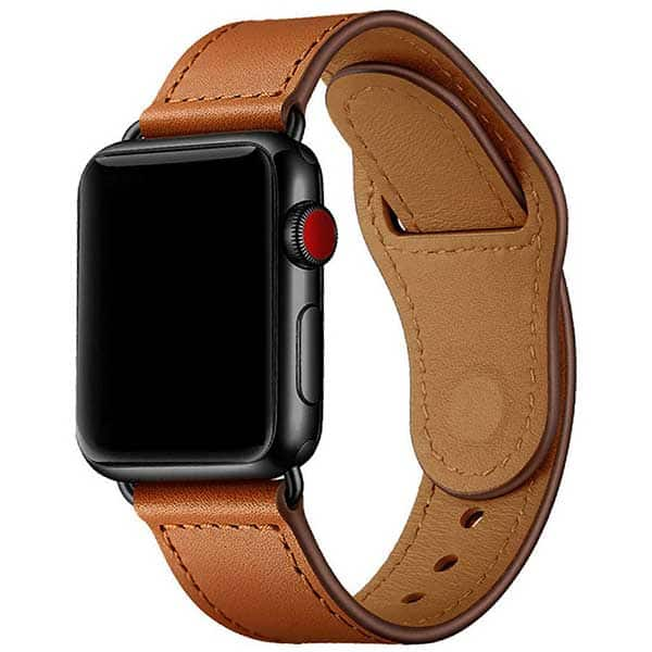 Bratara pentru Apple Watch 42mm/44mm, PROMATE Genio-42, piele naturala, maro deschis
