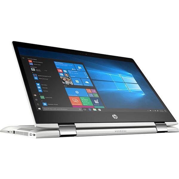 """Laptop 2 in 1 HP ProBook x360 440 G1, Intel Core i5-8250U pana la 3.4GHz, 14"""" Full HD Touch, 8GB, SSD 256GB, Intel UHD Graphics 620, Windows 10 Pro, argintiu"""