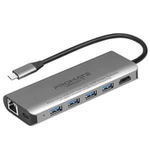 Hub USB Type-C PROMATE UniPort-C, USB 3.0, Ethernet, HDMI, gri