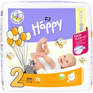 Scutece HAPPY Mini nr 2, Unisex, 3 - 6 kg, 78 buc