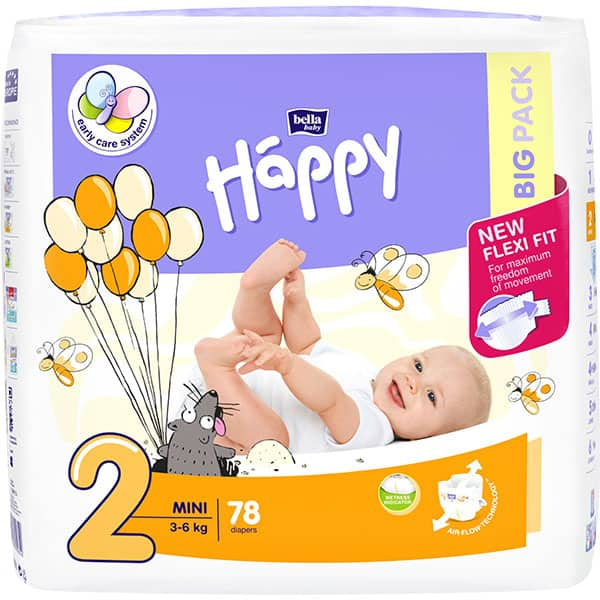 Scutece HAPPY Mini nr 2, Unisex, 3 - 6 kg, 78 buc