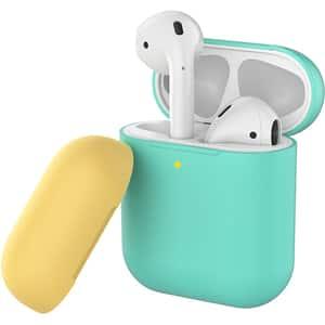 Husa pentru Apple AirPods PROMATE SiliCase, turcoaz-galben
