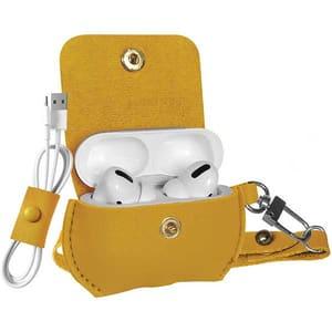 Husa pentru Apple AirPods Pro + inel prindere PROMATE Fay Pro, piele, galben