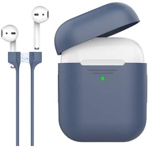Husa pentru Apple AirPods + cablu magnetic PROMATE PodKit, albastru inchis