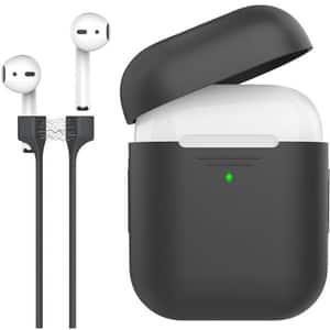 Husa pentru Apple AirPods + cablu magnetic PROMATE PodKit, negru