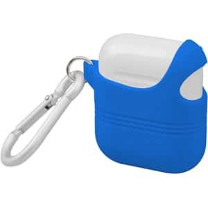 Husa decupata pentru carcasa Apple AirPods + inel prindere PROMATE VeilCase, albastru