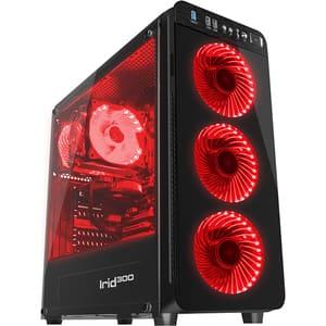Carcasa GENESIS Irid 300 Red, USB 3.0, fara sursa, negru