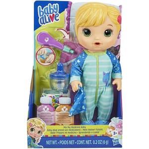 Papusa bebelus BABY ALIVE Mix my medicine E6937, 3 ani+, albastru-verde