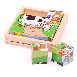 Puzzle cubic BIGJIGS Animale domestice BJ536, 2-6 ani, 9 piese
