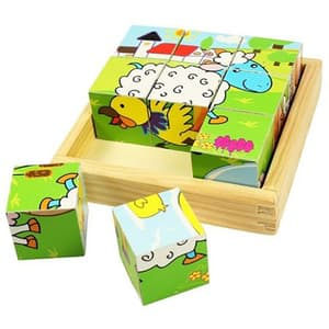 Puzzle cubic BIGJIGS Animale domestice BJ536, 2 - 6 ani, 9 piese