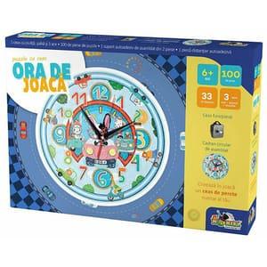 Puzzle cu ceas NORIEL Ora de joaca - Masinute INT3190, 6 ani+, 103 piese