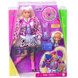 Papusa BARBIE Extra Style Pigtails MTGYJ77, 3 ani+, mov-alb