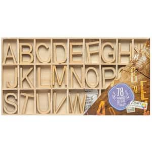 Set litere din lemn GRAFIX RG0259, 3 ani+, maro