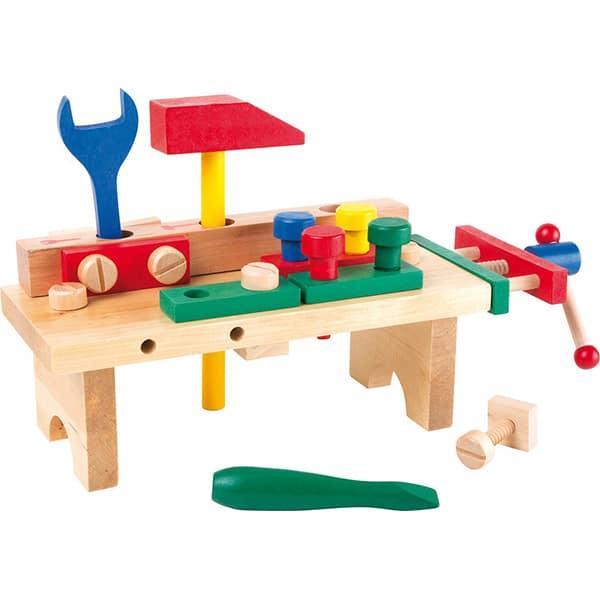 Jucarie de rol LEGLER Masuta de lucru cu unelte LE1024, 3 ani+, lemn, multicolor