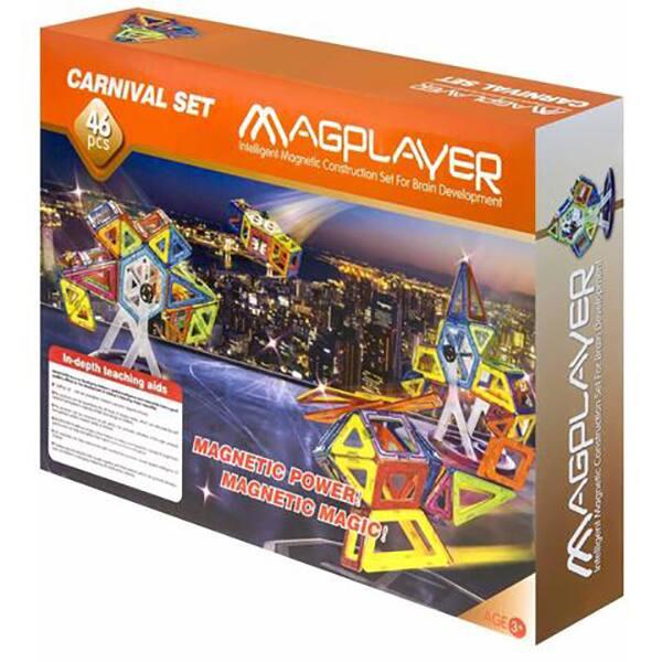 Joc constructie magnetic MAGPLAYER MPB-46, 3 ani +, 46 piese