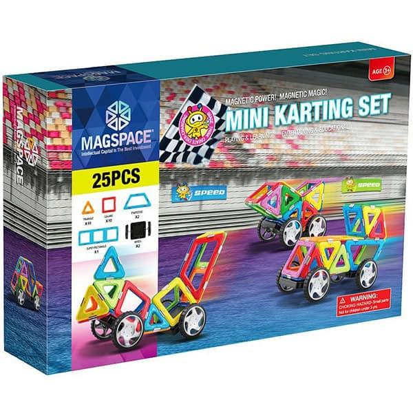 Joc constructie magnetic MAGSPACE Mini Karting, 3 ani +, 25 piese