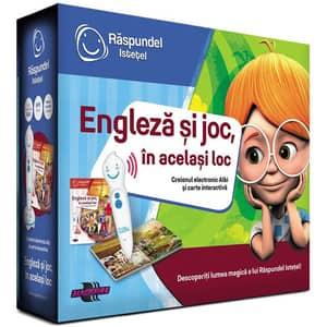 Pachet carte interactiva si creion RASPUNDEL ISTETEL: Engleza si joc, in acelasi loc 69364, 6 ani+, multicolor