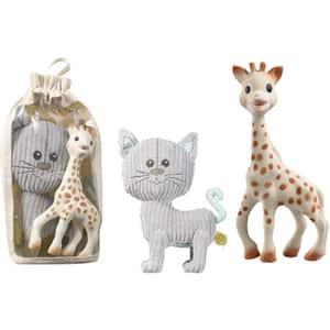 Set 2 jucarii VULLI Girafa Sophie si Pisica Lazare, 0 luni+, gri-maro