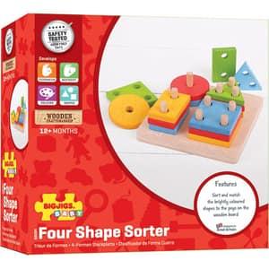 Joc de sortare BIGJIGS 4 forme geometrice BB094, 12 luni+, multicolor