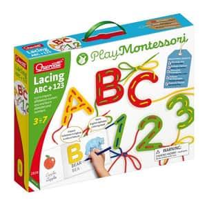 Joc creativ cu sireturi QUERCETTI Montessori ABC+123 Q2808, 3 -7 ani, 52 piese