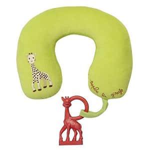 Perna de gat + inel dentitie VULLI Girafa Sophie, verde-maro