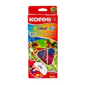 Acuarele cu pensula inclusa KORES Akuarellos, Diametru 30 mm, 12 culori