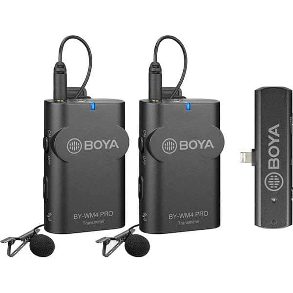 Kit lavaliere wireless BOYA BY-WM4 Pro k4, Conector Lightning, Jack 3.5mm, gri