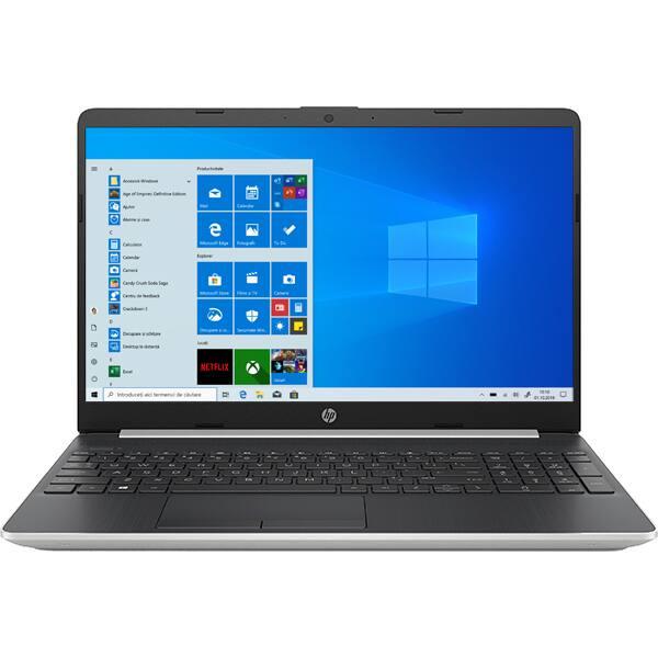 """Laptop HP 15s-fq1038nq, Intel Core i7-1065G7 pana la 3.9GHz, 15.6"""" Full HD, 16GB, SSD 512GB, Intel Iris Plus Graphics, Windows 10 Home S, argintiu"""