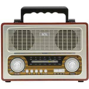 Radio retro SAL RRT 3B, FM, Bluetooth, USB, negru
