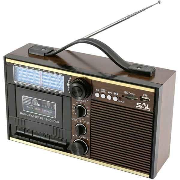 Radio retro cu casetofon SAL RRT 11B, FM, Bluetooth, USB, maro