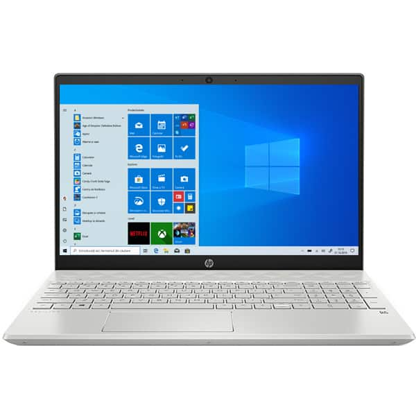 "Laptop HP Pavilion 15-cs3043nq, Intel Core i7-1065G7 pana la 3.9GHz, 15.6"" Full HD, 16GB, 1TB + SSD 256GB, NVIDIA GeForce MX250 4GB, Windows 10 Home, argintiu"