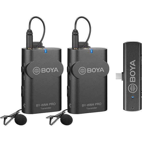 Kit lavaliere wireless BOYA BY-WM4 Pro k6, Conector USB C, Jack 3.5mm, gri