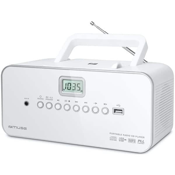 Radio CD portabil MUSE M-28 RDW, FM, USB, alb