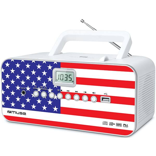 Radio CD portabil MUSE M-28 US, FM, USB, multicolor