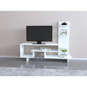 Comoda TV Clover, alb, 133 x 30 x 105 cm