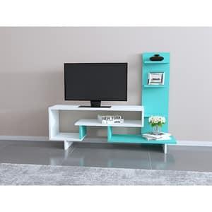 Comoda TV Clover, alb-turcoaz, 133 x 30 x 105 cm