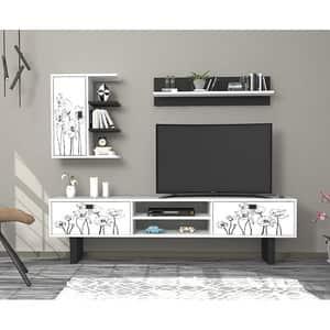 Mobila living Rose, alb-negru, 180 x 29.5 x 48 cm