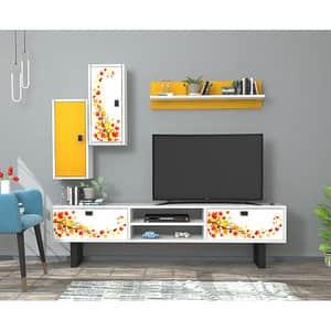 Mobila living Summer, alb-galben, 180 x 29.5 x 48 cm