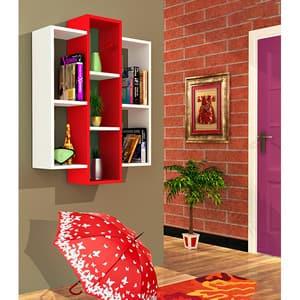 Raft perete Solid, 97 x 22 x 73 cm, alb-rosu