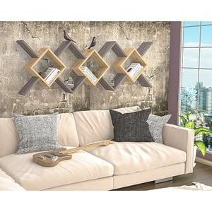 Raft perete Riki, 170 x 20 x 59 cm, antracit-stejar