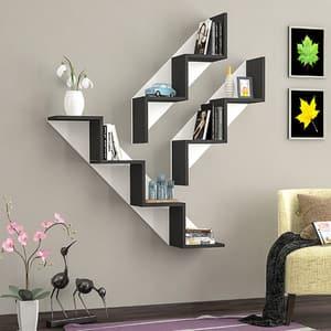 Raft perete Keen, 125 x 22 x 18 cm, alb-negru