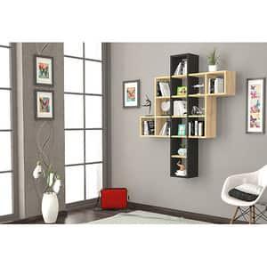 Raft perete Chike, 132 x 22 x 110 cm, negru-stejar