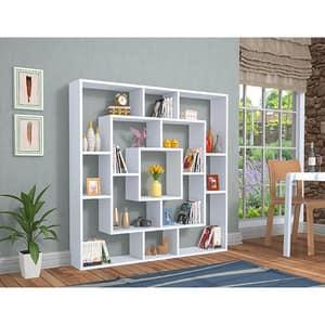 Biblioteca Frame, alb, 125 x 22 x 125 cm