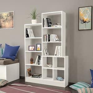 Biblioteca Monde, alb, 160 x 22 x 102 cm